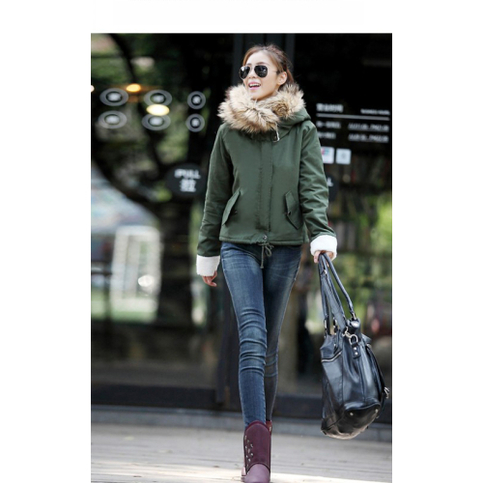 Army green fur hooded parka coat jacket from doublelw on storenvy