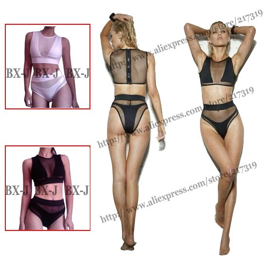 Sexy black gauze bikini women summer clothing bandage swimsuit high waist bikini set push up triangl swimwear swimming suit