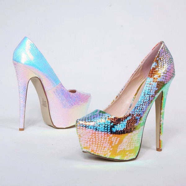shoes neon snakskin heels.shoes
