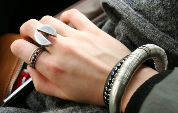 ring silver white jewels black jewels grey jewels rock brown jewels