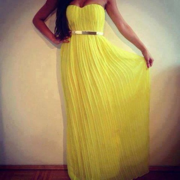 dress long dress yellow dress yellow