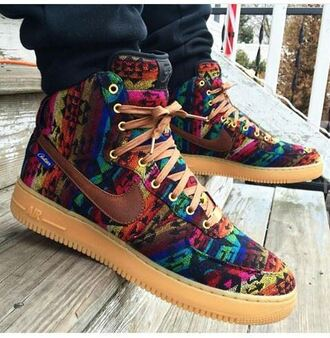shoes nike nike shoes nike air force 1 multicolor colorful nikes high top sneakers