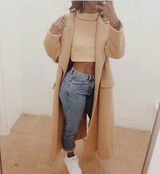 coat crop tops turtle neck crop top beige winter coat jeans sneakers white denim top jacket