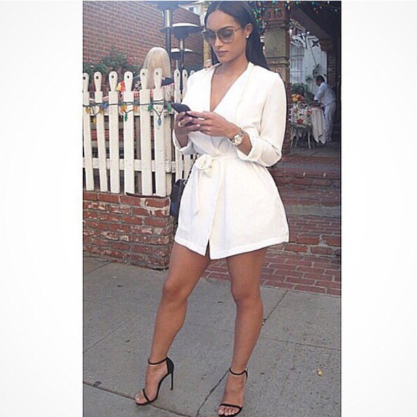 coat dress white dress high heels amazing sexy dress sunglasses jacket jumpsuit romper white white top heels white one piece