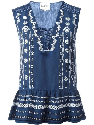 top embroidered lace blue