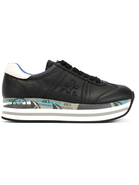Premiata White women sneakers leather black shoes