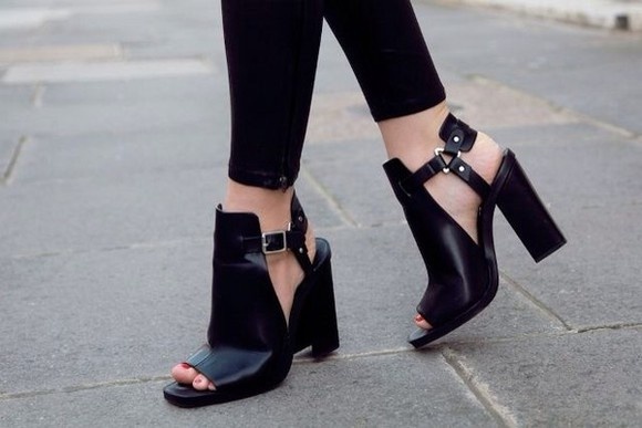 shoes open toes heel black boots cut out booties leather