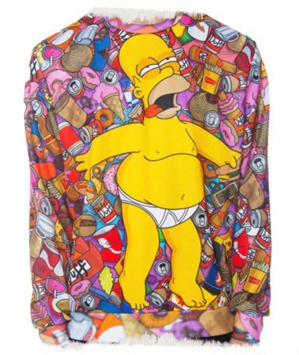 sweater pullover the simpsons homer simpson jaune