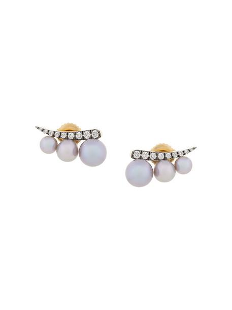 Jemma Wynne women earrings stud earrings gold yellow grey jewels
