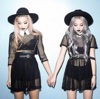 dress black dress goth pastel