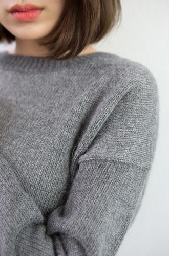 sweater grey sweater knitwear oversized sweater grey