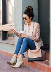 hello fashion,blogger,jacket,sunglasses,bag,beige jacket,nude jacket,skinny jeans,handbag,boots