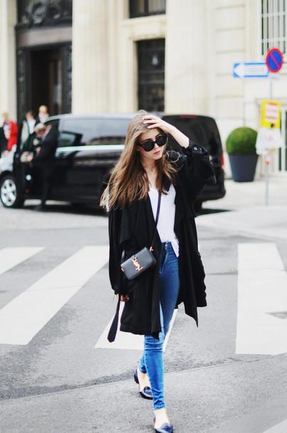 7d1788f1f3c34 jestem kasia blogger sunglasses duster coat ysl bag ysl alexander wang  black coat spring outfits jeans
