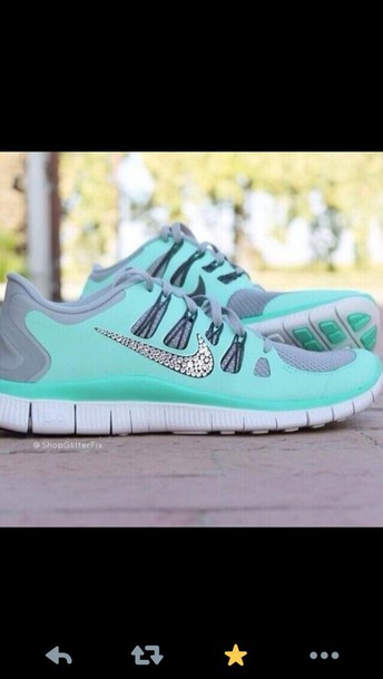 b6f1fbb60121 shoes nike sparkle glitter nike diamond shoes blue and grey bike free run  tennis shoes nike