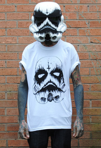 shirt star wars clothes helmet tattoo rock punk band jeans roll up white blood menswear mens roll up sleeves blood t-shirt hat halloween mens t-shirt halloween accessory mask stormtrooper guard death trooper trooper black and white black dark creepy grunge dead zombie stormtropper cross graphic tee