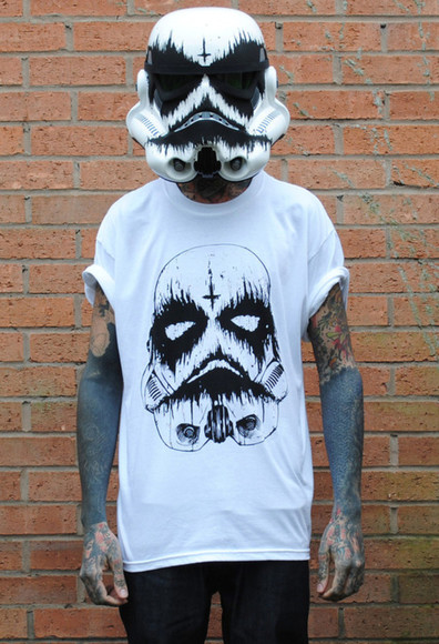 star wars stormtrooper shirt white black guard death trooper trooper black and white dark creepy grunge dead zombie clothes helmet tattoo rock punk band merch jeans roll up blood menswear menswear roll up sleeves blood t-shirt hat halloween stormtropper cross graphic tee