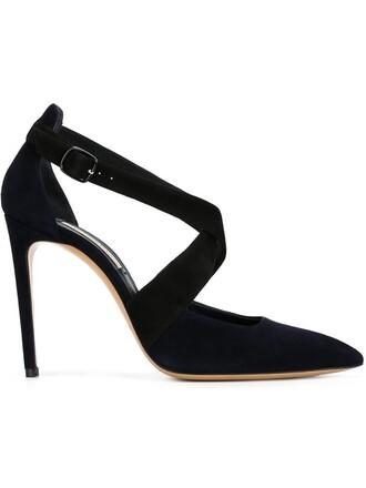 cross women pumps leather blue suede shoes