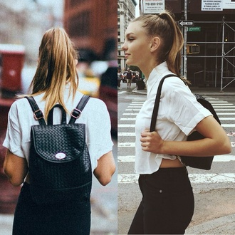 bag backpack leather backpack blouse college
