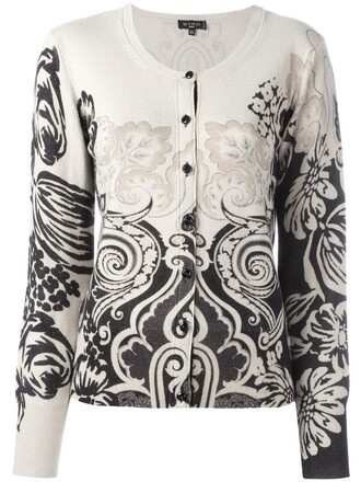 cardigan women floral nude print wool sweater
