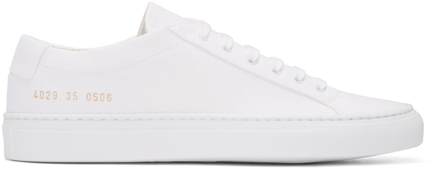 Woman by Common Projects - White Canvas Achilles Low Sneakers