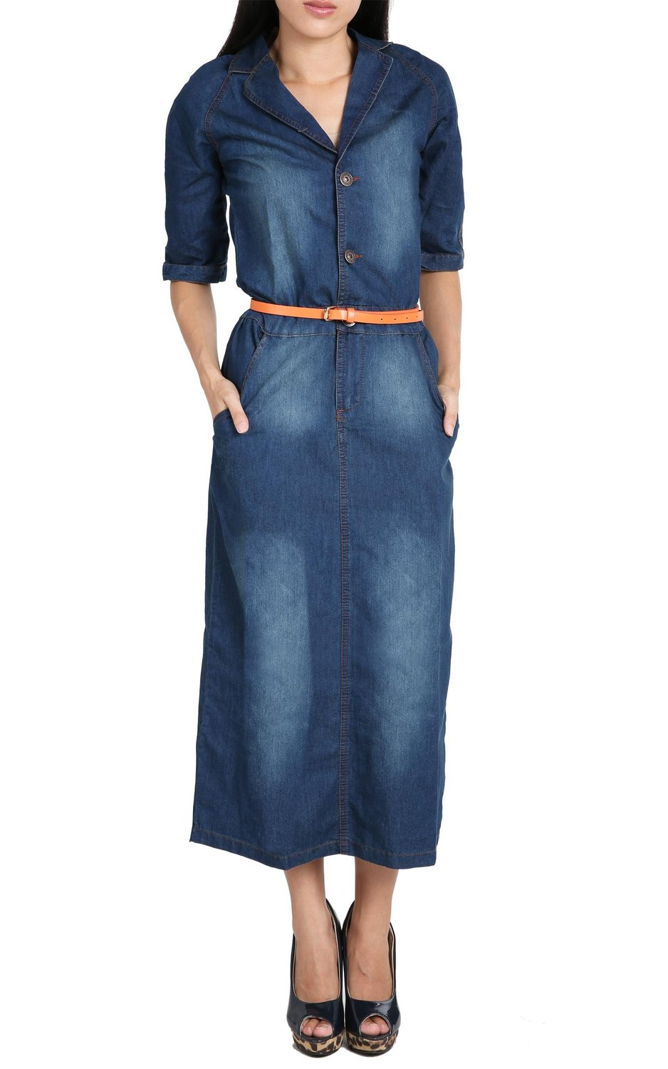 FINEJO® Europe Style Women Fit Slim Thin Denim Blue Jean Slit Long Maxi Dress at Amazon Women's Clothing store: