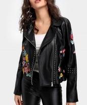 jacket,embroidered,girly,black,biker jacket,leather,leather jacket,embroidered floral