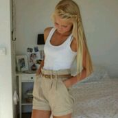 khaki short,tan belt,white muscle shirt,shorts,belt,tank top