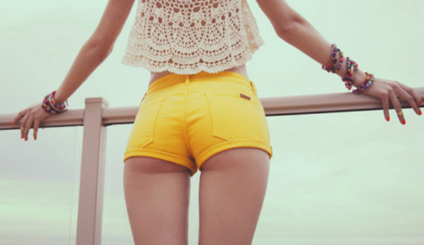 Shorts: top, yellow, crochet, high waisted shorts, cheeky - Wheretoget