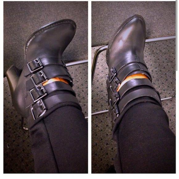 buckles boots black booties