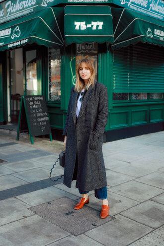 coat tumblr grey coat long coat grey long coat oversized oversized coat shoes brown shoes denim jeans blue jeans