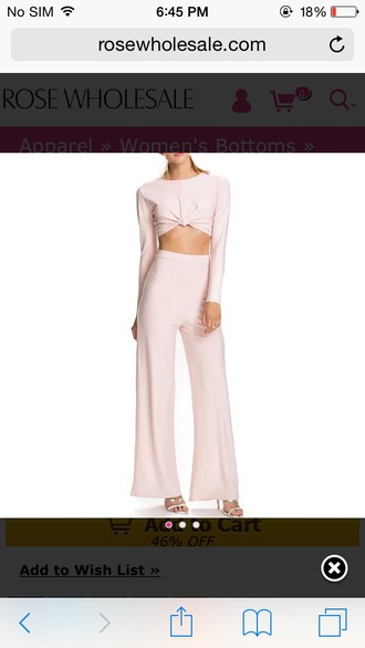 wide-leg pants flare pants flare tie-front top light pink blush pink matching set crop tops