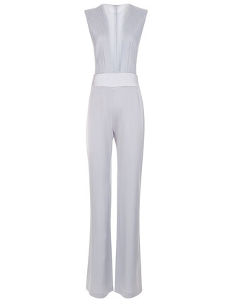 jumpsuit sleeveless silver light blue light blue