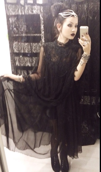 dress black black dress goth gothic elegant tulle dress flowing dresses
