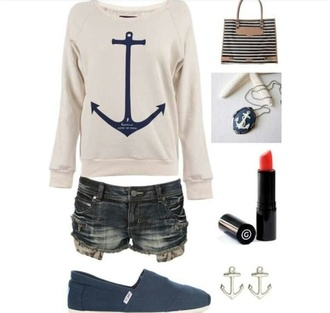 sweater clothes anchor hiptser blu blue shorts jewels