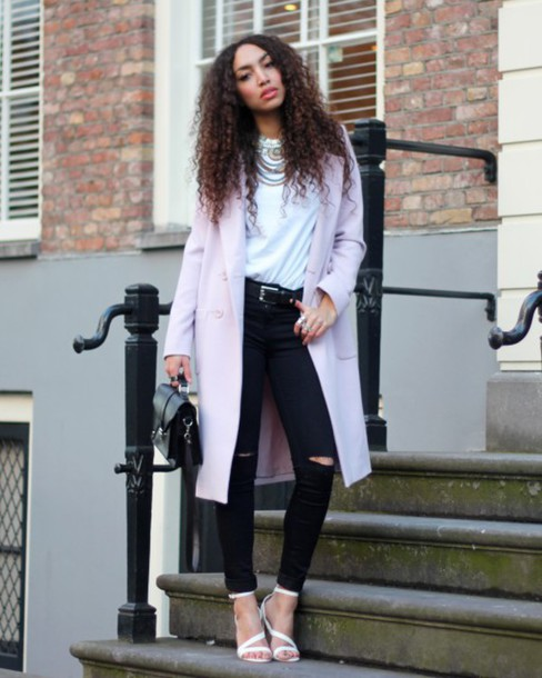 from hats to heels blogger coat lilac black ripped jeans