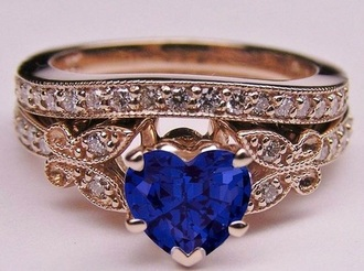 jewels ring hearr blue gold wedding heart jewelry heart engagement ring