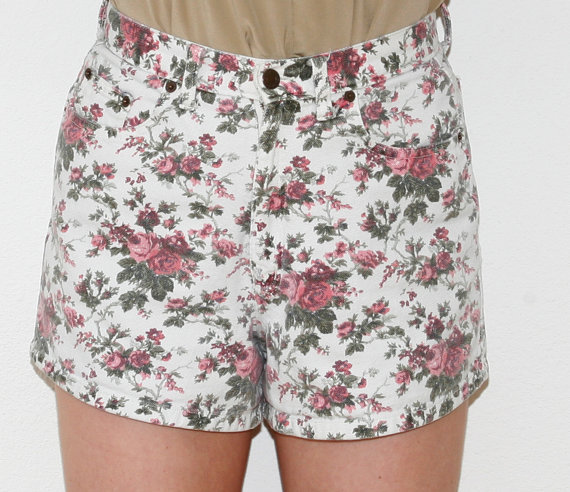 Waisted Floral Shorts Grunge Denim Style Textured Rose Print 29W ...