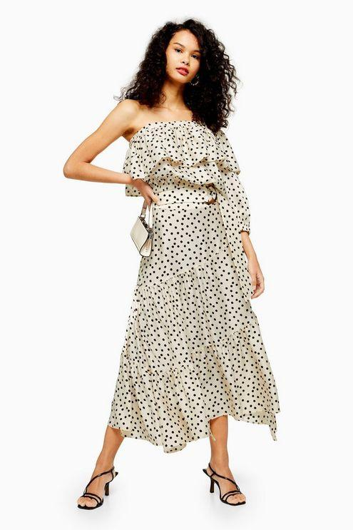 Cream Spot Tiered Midi Skirt - Cream