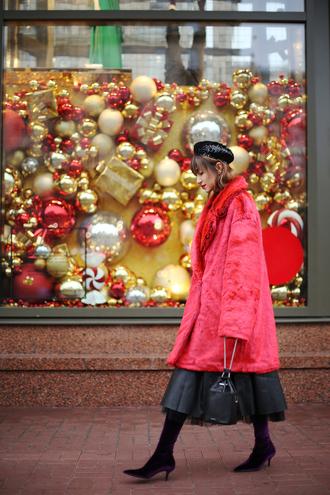 tina sizonova blogger coat dress blouse shoes bag beret fur coat faux fur jacket boots winter outfits