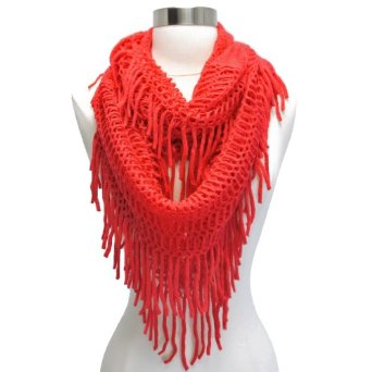 Amazon.com: Coral Thick Open Knit Fringed Circular Infinity Loop Scarf: Clothing