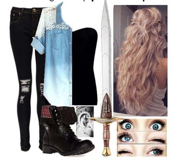 combat boots clothes top jeans outfit