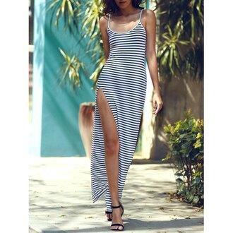 dress maxi striped dress slit black and white fashion style trendy long dress rose wholesale-ma