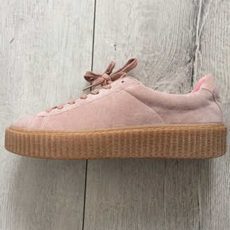 shoes pink rihanna creeper look alike platform sneaker
