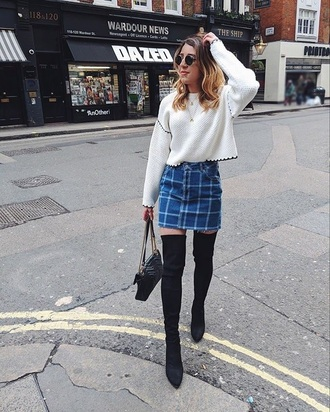 sweater white sweater cropped blue skirt black boots cropped sweater skirt mini skirt boots over the knee boots sunglasses