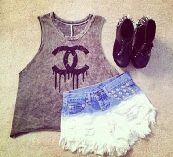 shorts tank top shoes
