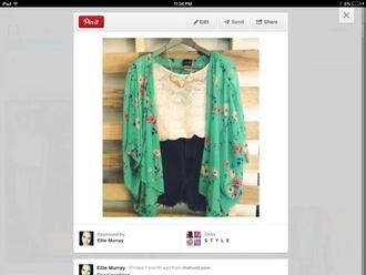 blouse kimono green kimono floral kimono