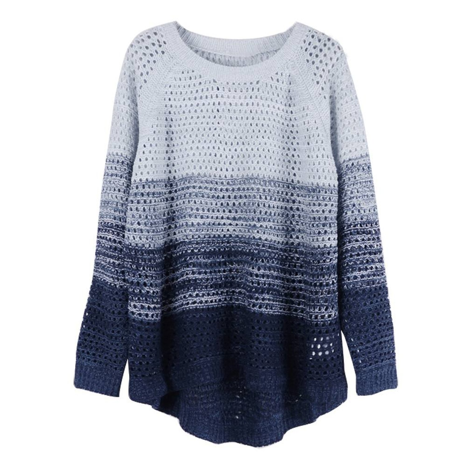 ZLYC Women's Gradient Color Stripe Loose Pullover Knit Sweater (Blue) at Amazon Women's Clothing store: