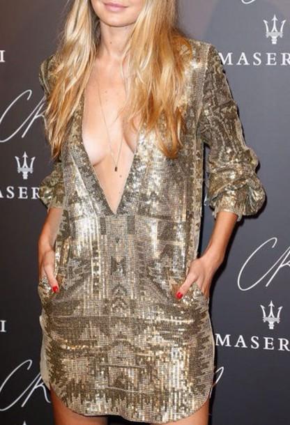 dress gold sequins deep v