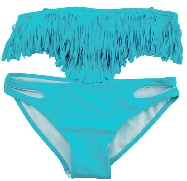 swimwear turquoise blue bikini tassel fringes