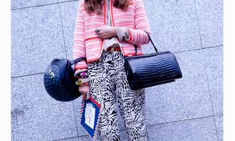jacket printed pants crocodile black bag streetstyle fashion week 2015 helmet optical
